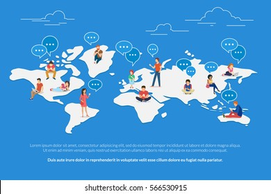 Global worldwide communication concept illustration of young people using mobile smarthone, tablet and laptop for multicultural social networking and texting. Flat guys and young women on world map