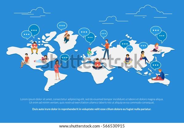 Глобальная глобальная коммуникационная концепция, иллюстрированная молодыми людьми, использующими мобильный смартфон, планшет и ноутбук для создания мультикультурных социальных сетей и текстовых сообщений. Плоские парни и молодые женщины на карте мира