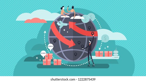 Globalisation flat vector illustration, people around the globe connection concept. Commercial cargo transportation and international business network relationships. World wide web internet technology