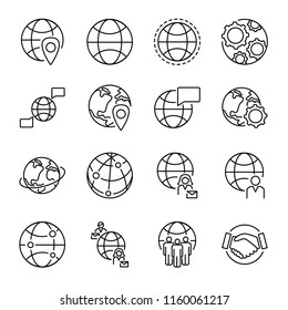 Globalization concept icons collection with various globe shapes and people connection symbols. Monoline black isolated vector icons set. Multicultural world wide people communication and cooperation.