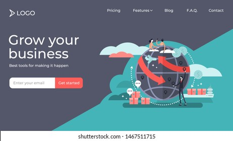 Globalization flat tiny persons vector illustration landing page template design. Commercial cargo transportation and international business network relationships. World wide web internet technology.