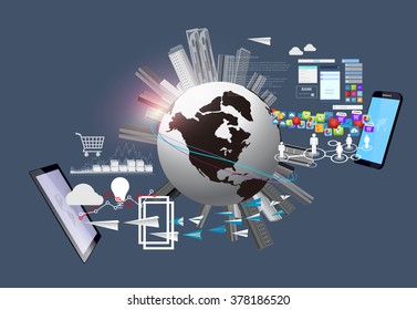 Globalization and Technology. Global business and technology around the world. Technology and Communications.