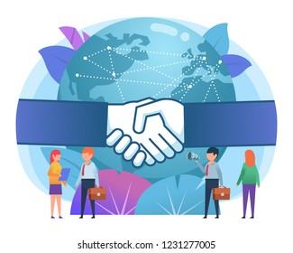 Globalization, worldwide business concept. Big hands handshake, earth globe on background. Poster for social media, presentation, web page, banner. Flat design vector illustration