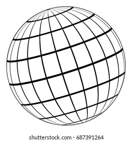 Globe 3D model of the Earth or of the planet, model of the celestial sphere with coordinate grid, vector field with stripes and lines of Meridian and parallel