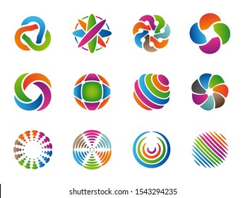 Globe abstract logo. Colored business circles round identity shapes vector collection