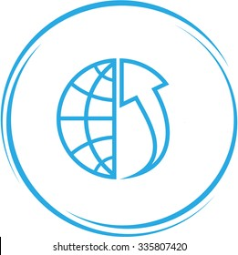 globe and array up. Internet button. Vector icon.