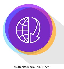 globe and arrow down. Internet template. Vector icon.