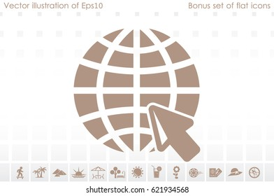 Globe and arrow icon vector illustration eps10. Isolated badge for website or app - stock infographics.