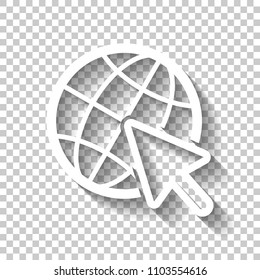Globe and arrow icon. White icon with shadow on transparent background