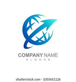 Globe And Arrow Logo Template