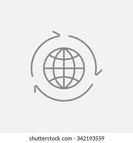 Globe with arrows line icon for web, mobile and infographics. Vector dark grey icon isolated on light grey background.