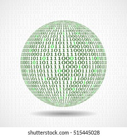 Globe of binary code. Abstract technology ball, vector illustration, eps10