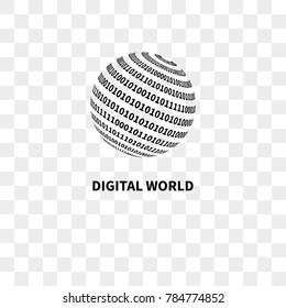 Globe with binary code. Logo digital world. Vector