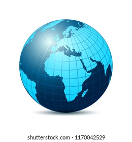Globe with blue continents - stock vector