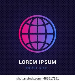Globe Blue & Red colorful gradient attractive bright material Icon / Logo Design