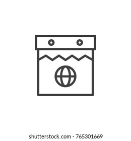 Globe calendar day line icon, outline vector sign, linear style pictogram isolated on white. Symbol, logo illustration. Editable stroke