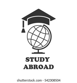 globe with cap rogatywka. vector illustration. Education icon. Font STUDY ABROAD icon,logo