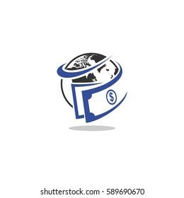 globe cash money vector logo