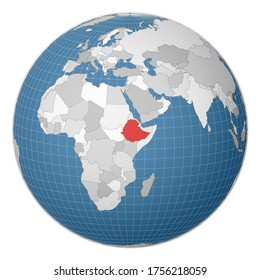 Globe centered to Ethiopia. Country highlighted with green color on world map. Satellite world projection. Authentic vector illustration.