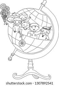 globe with children inside - draw