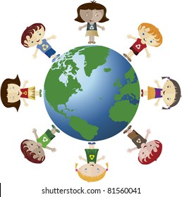 Globe and children. Globe with several children. They use the recycle symbol.