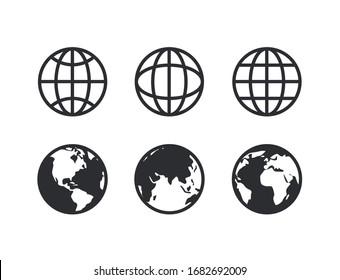 Globe collection icon symbol vector
