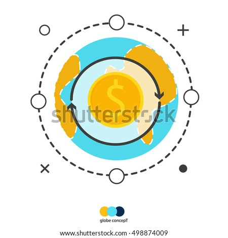Globe Concept Money Exchange Currency World Stock Vector Royalty
