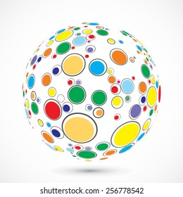 Globe consist of color circles. Vector illustration.