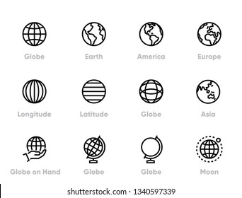 Globe and Continents Editable Line Icons Set.