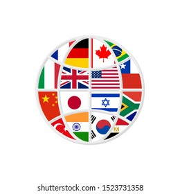 globe countries flags in flat style, vector illustration