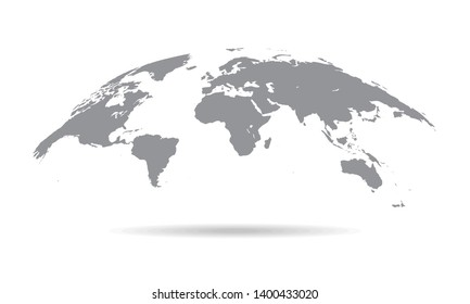Globe Curved World Map - Vector Illustration