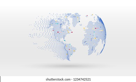 globe data network dot elements abstract vector background