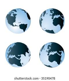Globe. Different views. Vector Illustration