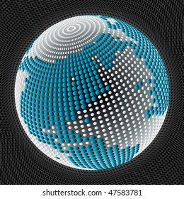 Globe with dots on mesh type background