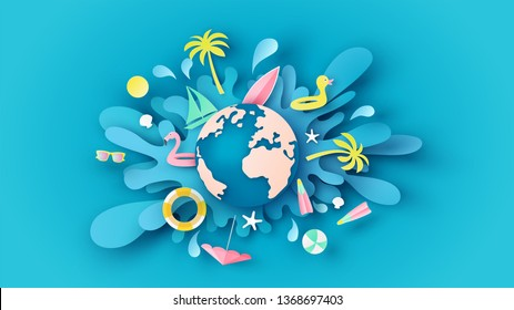 Globe dropped on the blue sea water surface and beach equipment splash around. Graphic design for summer. paper cut and craft style. vector, illustration.