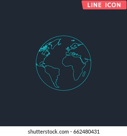 Globe earth Blue outline vector icon. Contour line pictogram on dark background. Flat illustration symbol
