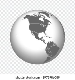 Globe of Earth with borders of all countries. 3d icon Globe in gray on transparent background. High quality world map in gray.  Canada, USA, Mexica. Vector illustration. EPS10.