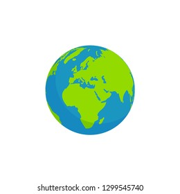 globe earth continent africa and europe isolated white background, flat style design