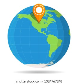 Globe Earth flat color with orange map pin on continent North America icon. USA, Canada, Mexico. Vector illustration