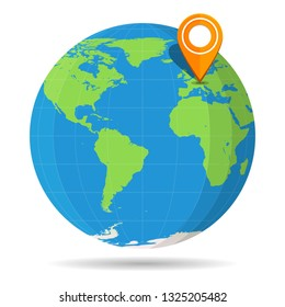 Globe Earth flat color with orange map pin on Europe icon. Germany, France, UK, Spain, Portugal, Italy, European Union. Vector illustration