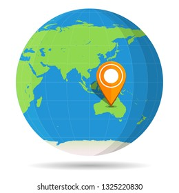 Globe Earth flat color with orange map pin on continent Australia icon. Vector illustration