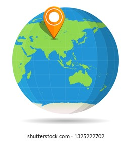 Globe Earth flat color with orange map pin on continent Asia icon. Russia, China, India. Vector illustration