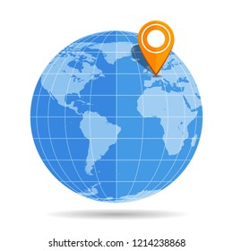 Globe Earth flat with orange map pin on Europe icon isolated on white background. Germany, France, UK, Spain, Portugal, Italy, European Union. Vector illustration