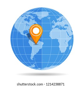 Globe Earth flat with orange map pin on continent South America icon isolated on white background. Brazil, Argentina, Peru, Chile, Colombia, Venezuela. Vector illustration