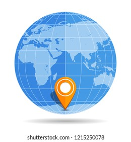 Globe Earth flat with orange map pin on continent Antarctica icon isolated on white background. Vector illustration
