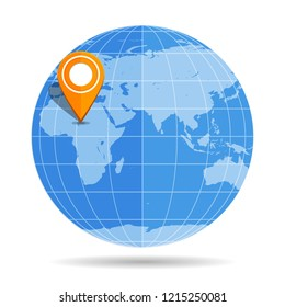 Globe Earth flat with orange map pin on continent Africa icon isolated on white background. Vector illustration