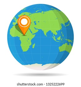 Globe Earth flat with orange map pin on continent Africa icon. Egypt, Algeria, Somalia, South Africa, Kenya, Libya, Madagascar. Vector illustration