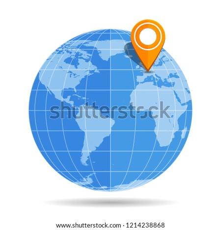 Map Of Uk On Globe.Globe Earth Flat Orange Map Pin Stock Vector Royalty Free