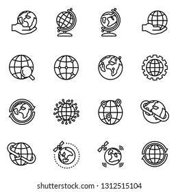 Globe and earth geography graphic icon set with white background. Planet Earth cartography. Thin Line Style stock vector.