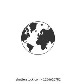 Globe Earth. Icon Flat